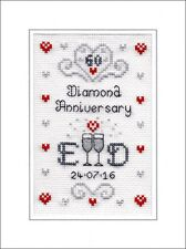 60th Diamond Wedding Anniversary cross stitch card kit