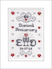 60th Diamond Wedding Anniversary cross stitch card kit