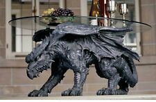 Warwickshire Dragon Oval Glass Topped Design Toscano Exclusive Coffee Table