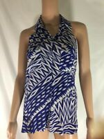 Guess By Marciano Women's Blouse Tank Tunic Silk Blue & White Halter Neck Size S