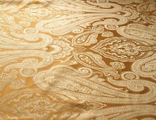 New, 100% Silk Damask. Paisley Design. Bronze, Jacquard, Drapery Fabric