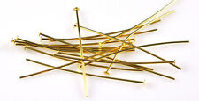 100 Gold Plated Head Pins 21 Gauge 1.5 Inch Long