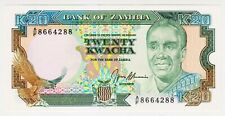 1989 Zambia 20 Kwacha Unc 8664288 Paper Money Banknotes Currency