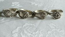 Vintage Heavy Silver Tone Napkin Rings Holders Various Flower Designs Set (4)
