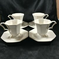 Set of 4 NIKKO CLASSICS COLLECTION White Octagon Cups and Saucers