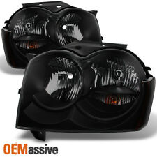 Fit 05-07 Jeep Grand Cherokee *Black Smoke* Headlights Front Lamps Replacement