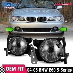 For BMW 5 Series E60 04-08 Factory Bumper Replacement Fit Fog Lights Clear Lens