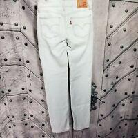 Levis 712 Slim Size 24 Light Wash Skinny Leg Jeans Solid White Acid Long Length