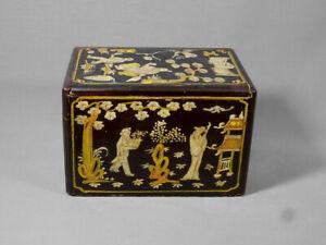 Coffret, Boîte à Thé Bois & Laque, Beau Travail du XVIIIe Siècle Dlg de la Chine