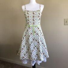 I.N. San Francisco Women's Dress Green White Orange Stripes Floral Size 13