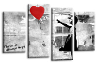 BANKSY RED BALLOON GIRL CANVAS WALL ART PICTURE PRINT LARGE SET 6