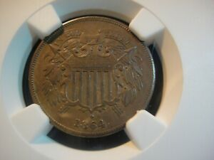 1864 United States 2 Cent Piece. NGC About Uncirculated 58 BN. Strike ERROR.