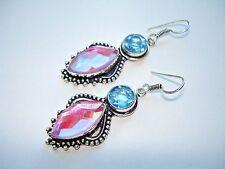 "AB Pink Aurora Borealis Rainbow Mystic Topaz Blue Topaz .925 Silver Earrings 2+"""