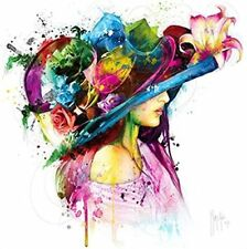 Patrice Murciano: Romantic Flowers Fertig-Bild 50x50 Wandbild Pop Frau Hut Blume