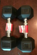 NEW Weider 15lb Dumbbells Pair Rubber Coated Hex Set 30lb Total Free Shipping