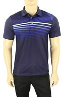 NEW MENS PGA TOUR PROSERIES ATHLETIC FIT STRIPED BLUE GOLF POLO SHIRT S