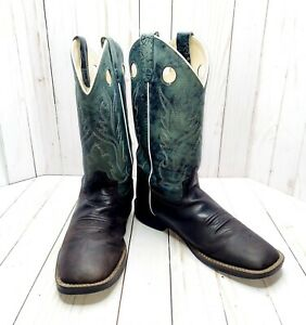 Old West Youth Boys Size 6.5 Blue/Brown Leather Broad Square Toe Cowboy Boots