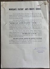 India 1939 advertisements & price list for MORGAN'S PATENT ANTI-WASTE COCKS