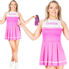Womens Cheerleader High School Sports Uniform Fancy Dress Costume with Pom Poms