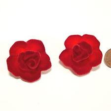SoHo® Ohrclips Samtrose Velvet Samt Rose bordeaux rot rote Rosen Tracht Clip