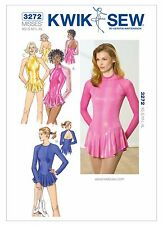 K3272 KWIK SEW Sewing Pattern Misses' Ice Skating Leotards Dance Costume XS-XLG