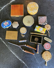 19 Piece Vintage Powder Makeup Mirror Compact Lipstick Lot Tube Pill Box Vanity