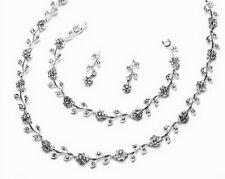 Chic diamante crystal jewellery set necklace bracelet earrings bridal prom S9