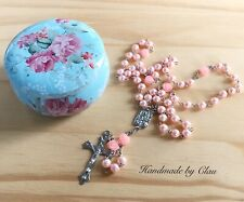 Pink catholic Rosary pearl bead Gift Set Girl/women