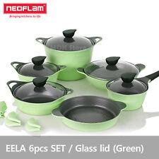 Neoflam EELA aluminum 6 pcs Chef Stockpot & Wok & Multigrill Premium Set - Green