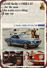 1968 Shelby Cobra Gt Mustang Reproduction Metal Sign 8 x 12