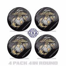 "4 Pack 4"" Round 3M Premium Grade Window Tailgate  Decal Sticker - USMC MARINES L"