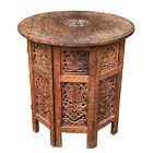 Vintage Indian Walnut Hand Carved Round Folding End Table