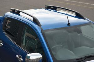 Black Aluminium Roof Rack Rails Side Bars Set To Fit Mitsubishi L200 (2015+)