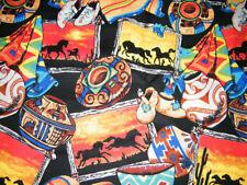 BTY COWBOY LIFE Horses & Pottery Wild West Print 100% Cotton Quilt Fabric  YARD