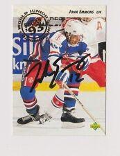 92/93 Upper Deck John Emmons Team USA Autographed Hockey Card