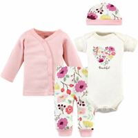 Touched By Nature Girl Organic Preemie Layette Set, 4-Piece Set, Botanical