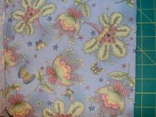 "green and pink florals on a mottled blue 100% cotton  8 YD X  45"" - BLU485"