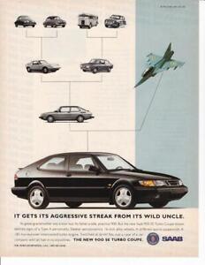 1994 Saab Print-Ad / Family tree with old Saabs and Saab Jet