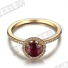 5.5mm Round 1.1CT Treated Ruby Natural SI/H Halo Diamonds Gemstone Ring Silver