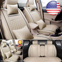 L Size Beige Car Seat Cover Top PU Leather SUV 5-Seats Front +Rear W/Pillow 7pcs