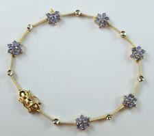 "14k Yellow Gold Dainty Bracelet Purple Tanzanite Flowers Diamonds Accents 7.25"""