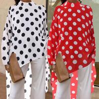Women Plus Size Polka Dot Formal OL Top Tee T Shirt Ladies High Low Tunic Blouse
