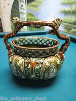 Antique ENGLISH ALHAMBRIAN MAJOLICA BASKET gorgeous colors[a*7]