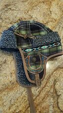 True Religion Aviator Trapper Leather Wool Faux Fur Plaid Hat Green RARE s/m