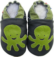 carozoo octopus navy blue 3-4y soft sole leather toddler shoes