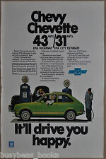 1977 CHEVY CHEVETTE advertisement, Chevrolet Chevette at antique gasoline pump