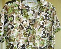 CORAL BAY PLUS 1X GREEN BROWN FLORAL BUTTON DOWN COTTON RAYON BLOUSE SHIRT WOMEN