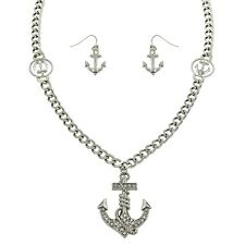 "Anchor Necklace & Earrings Set - Sparkling Crystal - Fish Hook - 22"" Chain"
