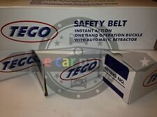 SET OF TWO x 2=4 UNITS BLACK THREE POINT RETRACTABLE SEATBELTS with STALKS TEGO
