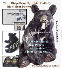 PDF artist PATTERN fur/mohair Jointed Teddy Bear realistic HeidiHollis taxidermy